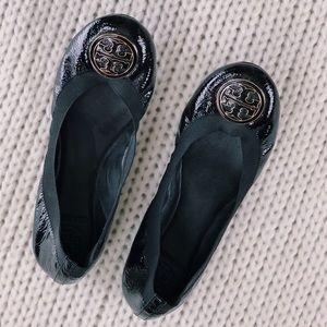 Tory Burch Flats- Black/Gold Emblem